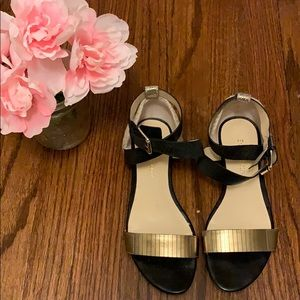 Enzo Angiolini black and gold sandal